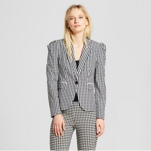 Who What Wear Target Gingham puff sleeve blazer